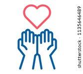 empty hands receiving red heart ... | Shutterstock .eps vector #1135646489