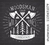 lumberjack at work vintage... | Shutterstock . vector #1135651079