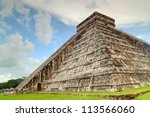 kukulkan pyramid in chichen... | Shutterstock . vector #113566060