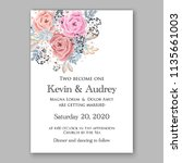 floral wedding invitation... | Shutterstock .eps vector #1135661003