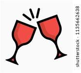 coloured outline red wine rum... | Shutterstock .eps vector #1135662638