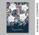 white anemone peony magnolia... | Shutterstock .eps vector #1135664693