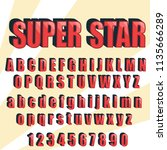 retro font  vintage alphabet.... | Shutterstock .eps vector #1135666289