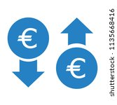 vector icon of euro up or down | Shutterstock .eps vector #1135668416