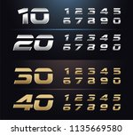 regular and italic set of metal ... | Shutterstock .eps vector #1135669580