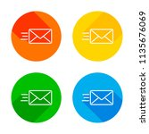 send mail icon. sms line. flat... | Shutterstock .eps vector #1135676069
