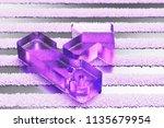 purple upload icon on the gray... | Shutterstock . vector #1135679954