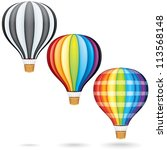 set of hot air balloons | Shutterstock . vector #113568148