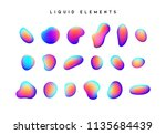 gradient iridescent shapes. set ... | Shutterstock .eps vector #1135684439