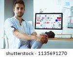 portrait of young designer... | Shutterstock . vector #1135691270
