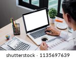 office desk mockup concept.man... | Shutterstock . vector #1135697639