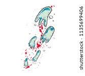foot print of monster or... | Shutterstock .eps vector #1135699406