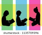 the child is reading a book. | Shutterstock .eps vector #1135709396