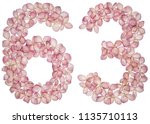 arabic numeral 63  sixty three  ... | Shutterstock . vector #1135710113