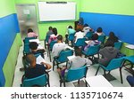young students studying on... | Shutterstock . vector #1135710674