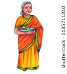 indian old woman  elderly woman ... | Shutterstock . vector #1135711310