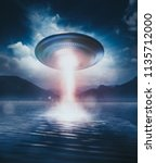 ufo floating on top of a lake... | Shutterstock . vector #1135712000