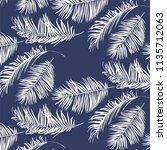 white palm leaves pattern on... | Shutterstock .eps vector #1135712063