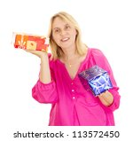 Beautiful woman with two colorful gifts - stock photo