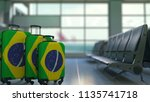 travel suitcases featuring flag ... | Shutterstock . vector #1135741718