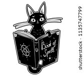 black witch's cat reading the... | Shutterstock .eps vector #1135747799