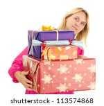 Female person with a lot of gifts - stock photo