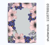 vintage frame with flowers.... | Shutterstock .eps vector #1135750010