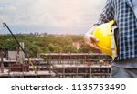 the architect planning on site... | Shutterstock . vector #1135753490