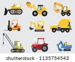 construction  tractor vector   Shutterstock .eps vector #1135754543