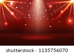 red stage with neon bright... | Shutterstock .eps vector #1135756070