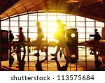 airport terminal hall. walking... | Shutterstock . vector #113575684