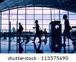 airport terminal hall. walking... | Shutterstock . vector #113575690