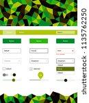 dark green vector ui ux kit in...