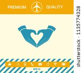 heart shape made with hands | Shutterstock .eps vector #1135774328