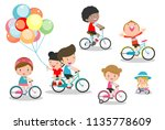 happy kids on bicycles  child... | Shutterstock .eps vector #1135778609