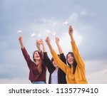 happy group of asian girl... | Shutterstock . vector #1135779410