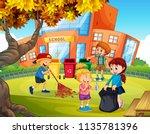 kids volunteering cleaning up... | Shutterstock .eps vector #1135781396
