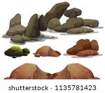 a set of rock and stone... | Shutterstock .eps vector #1135781423