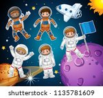 a set of astronaut in space... | Shutterstock .eps vector #1135781609