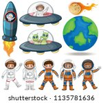 space  astronaut and ufo... | Shutterstock .eps vector #1135781636