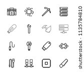 hardware icon. collection of 16 ... | Shutterstock .eps vector #1135784810