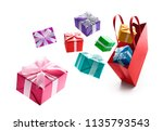 gift boxes pop out from red... | Shutterstock . vector #1135793543