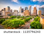Stock photo houston texas usa downtown city skyline over root square 1135796243