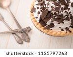 chocolate cream pie with...   Shutterstock . vector #1135797263