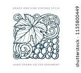 grape. hand drawn grape and... | Shutterstock .eps vector #1135800449