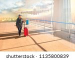 woman with traveling luggage... | Shutterstock . vector #1135800839
