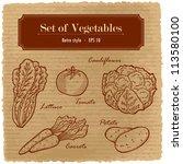 a large set of fresh vegetables.... | Shutterstock .eps vector #113580100