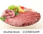 juicy thin sliced roast beef | Shutterstock . vector #1135801649