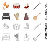 banjo  piano  harp  metronome.... | Shutterstock . vector #1135809728