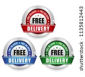 three free delivery badges with ... | Shutterstock .eps vector #1135812443